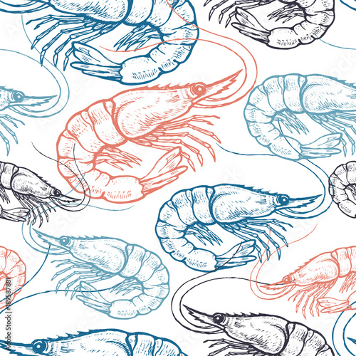 Cotton fabric Seamless vector pattern with shrimp.