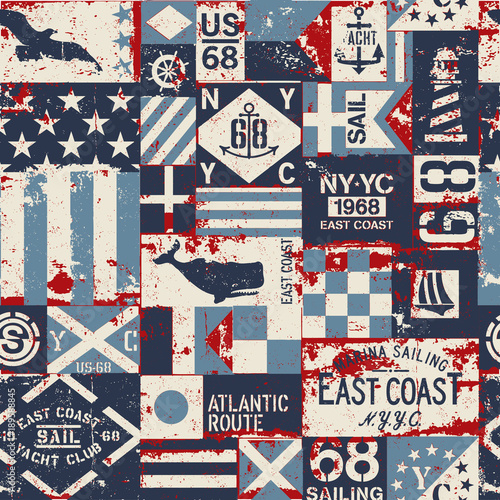 Grunge nautical flags patchwork vector seamless pattern