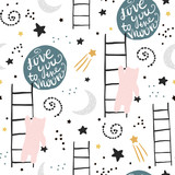 Seamless childish pattern with bears, stars and moon. Creative kids texture for fabric, wrapping, textile, wallpaper, apparel. Vector illustration - 189591260