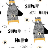 Seamless pattern with hand drawn bear hero. Creative childish texture in scandinavian style. Great for fabric, textile Vector Illustration - 189593473