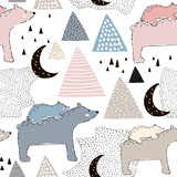 Seamless childish pattern with polar bear mom and baby. Creative kids design. Perfect for fabric, textile, warpping, nursery.Vector Illustration - 189593601