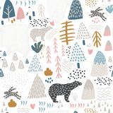 Seamless pattern with bunny,polar bear, forest elements and hand drawn shapes. Childish texture. Great for fabric, textile Vector Illustration - 189593670