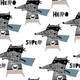 Seamless pattern with hand drawn wolf hero. Creative childish texture in scandinavian style. Great for fabric, textile Vector Illustration - 189593697