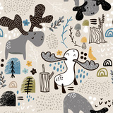 Childish seamless pattern with elks in wood and abstract shapes. Trendy scandinavian vector background. Perfect for kids apparel,fabric, textile, nursery decoration,wrapping paper - 189593838