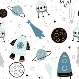 Childish seamless pattern with hand drawn space elements space, rocket, star, planet, space probe. Trendy kids vector background. - 189593861