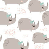 Seamless pattern with cute rhinoceros girls in scandinavian style. Creative vector childish background for kids fabric, textile,wrapping, apparel - 189594000