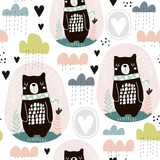 Seamless pattern with bear, floral elements, branches, clouds. Creative scandinavian style background. Perfect for kids apparel,fabric, textile, nursery decoration,wrapping paper. - 189594026