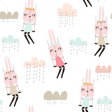 Seamless pattern with cute rabbit girls . Creative childish background. Perfect for kids apparel,fabric, textile, nursery decoration,wrapping paper.Vector Illustration - 189594073