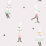 Seamless pattern with cute rabbit girls . Creative childish background. Perfect for kids apparel,fabric, textile, nursery decoration,wrapping paper.Vector Illustration - 189594091