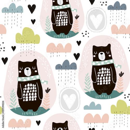 Materiał do szycia Bezszwowe wzór kwiatowy elementy, gałęzie, niedźwiedź, chmury. Creative skandynawski styl tła. Idealny dla dzieci Odzież, tkaniny, tekstylia, przedszkole dekoracje, papier pakowy.