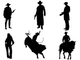 Set of 6 cowboy silhouette - 189598412