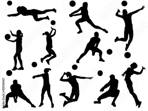 Fototapeta Set of Volleyball silhouette