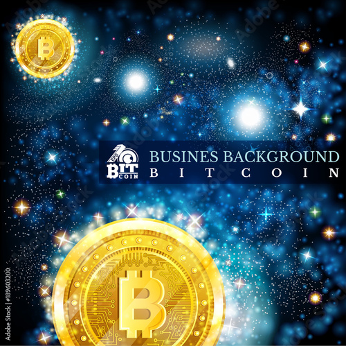 Golden bit coin in space in starry sky blue background