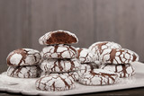 Home Baked Peppermint And Chocolate Crinkle Cookies. - 189604048