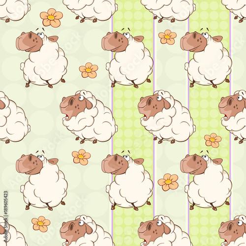 Deurstickers Babykamer Background with Cute Sheeps. Seamless Pattern