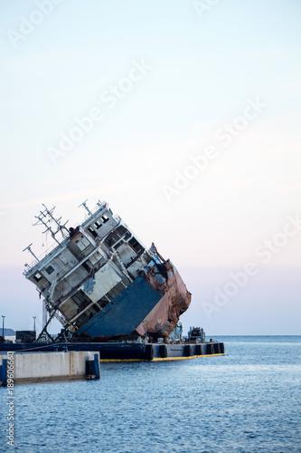 Keuken foto achterwand Schipbreuk Part of a cargo shipwreck exterior, closeup background.