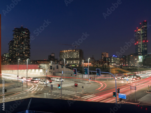 Foto op Canvas Milan Milan,Italy. nightlife business district, light trails of urban traffic