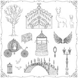 Fairy tale theme. Vintage gate, lantern, carriage, bridge, well, tree, wings, chest, cage, mirror, deer. Collection of decorative design elements. Isolated objects. Vector illustration