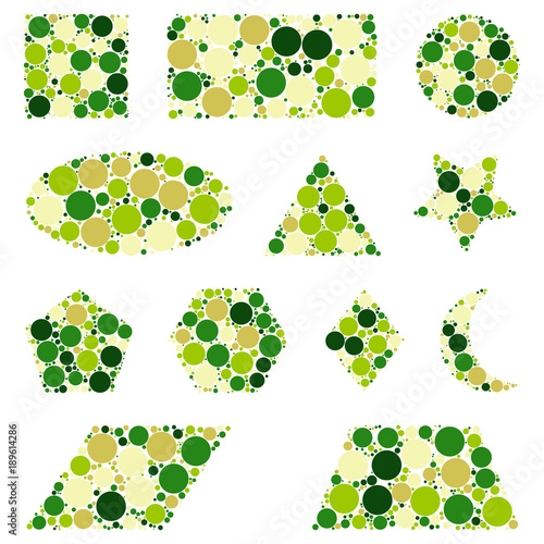 green geometric figures dotted set isolated on white background