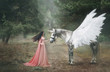 Beautiful, young elf, walking with a unicorn in the forest She is dressed in a long orange dress with a cloak. The plume beautifully waves in the wind. Artistic Photography