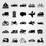 Transport vector icon set. zeppelin, truck, lorry and jeep