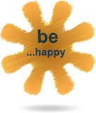 Be happy hatched text flower buble in orange color