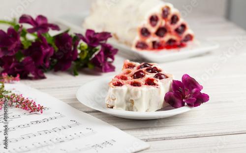 Fotobehang Kersen Pancakes with cherries. Breakfast.