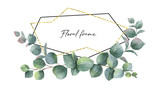 Watercolor vector composition from the branches of eucalyptus and gold geometric frame. - 189623846