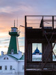 Fire tower at sunset. View of the Suzdal Kremlin. Historical fire department. Russian winter cityscape. Suzdal. Russia.
