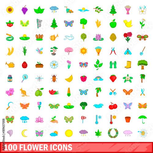 100 flower icons set, cartoon style