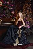 Beautiful witch in dark dress