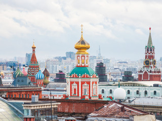 Aerial view on historic center of Moscow from Central Children Store. View on Zaikonospassky monastery, Main Department store, Cathedral of Christ the Saviour, Historic Museum. Moscow, Russia.