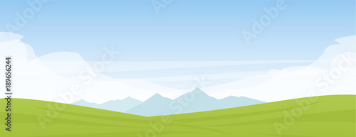 Aluminium Boerderij Vector illustration: Summer panoramic cartoon flat landscape with mountains, hills and green field.