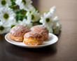 Homemade donuts with flowers