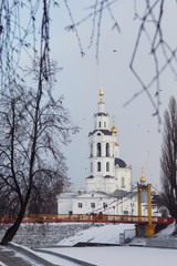 Suspension Bridge and Epiphany Church. Russia, the city of Orel
