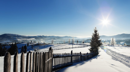 Winter rustic view
