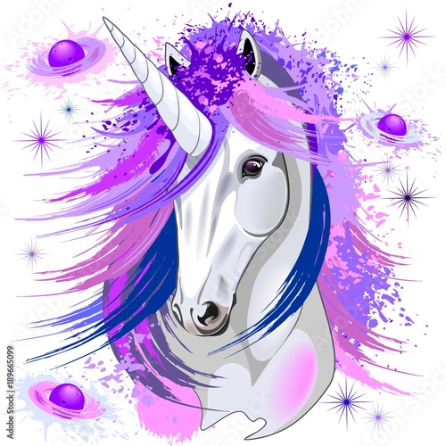 Foto op Canvas Draw Unicorn Spirit Pink and Purple Mythical Creature