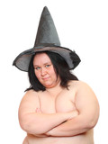 Ugly obese witch with missing teeth. Portrait on white background. - 189671428