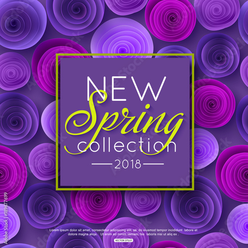 New Spring Collection background decorated ultra violet paper rose flowers. Vector illustration - 189677699