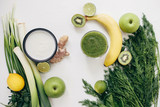 healthy food green smoothie fruits - 189680408