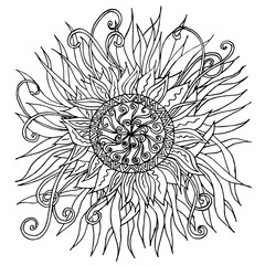 Hand drawn vector monochrome mandala sketch, doodle style design element, ethnic amulet for print, for web