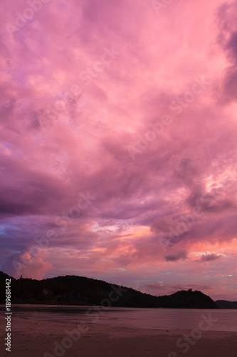 Aluminium Candy roze Colorful purple sunset at sand beach borneo Malaysia