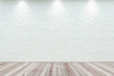 Room interior vintage with white brick wall and wood floor