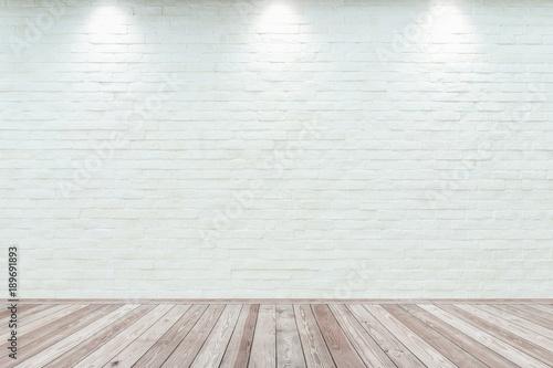 Fototapeta Room interior vintage with white brick wall and wood floor