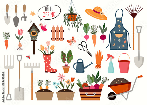 Wall mural Gardening elements collection