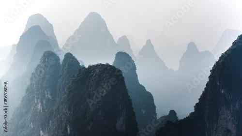 Plexiglas Guilin Beautiful mountain landscape in Yangshuo Guilin, China.