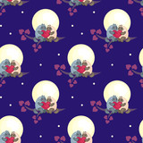 Seamless pattern with the image of cute cats and hearts. Colorful vector background.