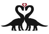 Enamored Dinosaurs And Heart Great Romance Wall Sticker