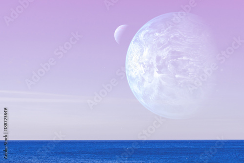 Landscape of an alien planet - a huge blue planet against the background of the pink sky and calm ocean water. Elements of this image are furnished by NASA.