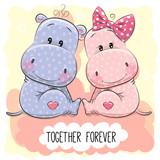 Cute Cartoon Hippos boy and girl - 189727410